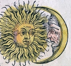 Sun and Moon, Hartmann Schedel's Nuremberg Chronicle, 1493