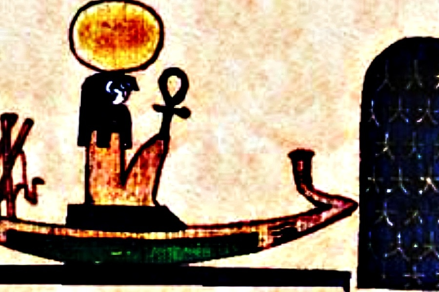 Ra aboard the Atet, his solar barge