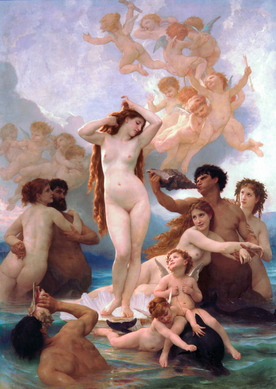 The Birth of Venus, 1879 painting by William-Adolphe Bouguereau. (public domain)